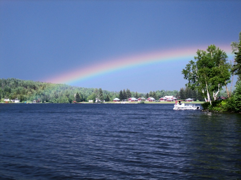 Beautiful Rainbow over Lake Wallace campground at Jackson's Lodge in Canaan Vermont