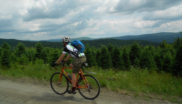 Biking the trails near Jacksons Lodge in Canaan Vermont