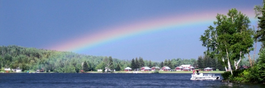 A rainbow above our cabins at Jackson's Lodge