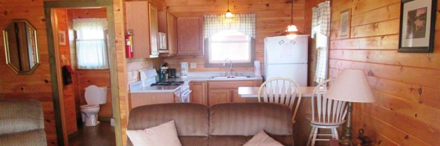 Ermine cabin fully equipped kitchen, cathedral ceiling, ceiling-fan, stand up shower, and screened in porch
