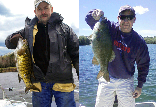 On left Chris Matlack with a fat small mouth bass taken on Lake Wallace (Wallace Pond) in Vermont's Northeast Kingdom; On right, this big bass was caught at Wallace Pond in June of 2013