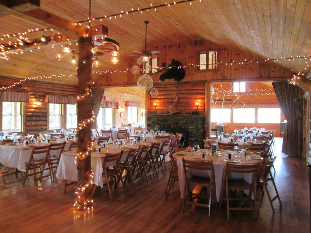 Rustice lodge in Northern Vermont set up for wedding reception.