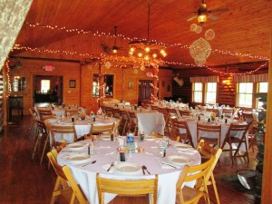 Rustic lodge in Vermont set up for a wedding