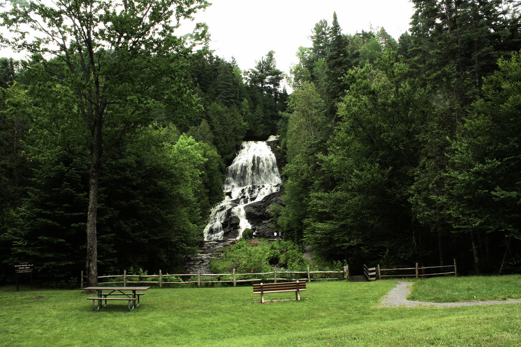 Waterfalls in New Hampshire; Beaver Brook Falls; Picnic Spots