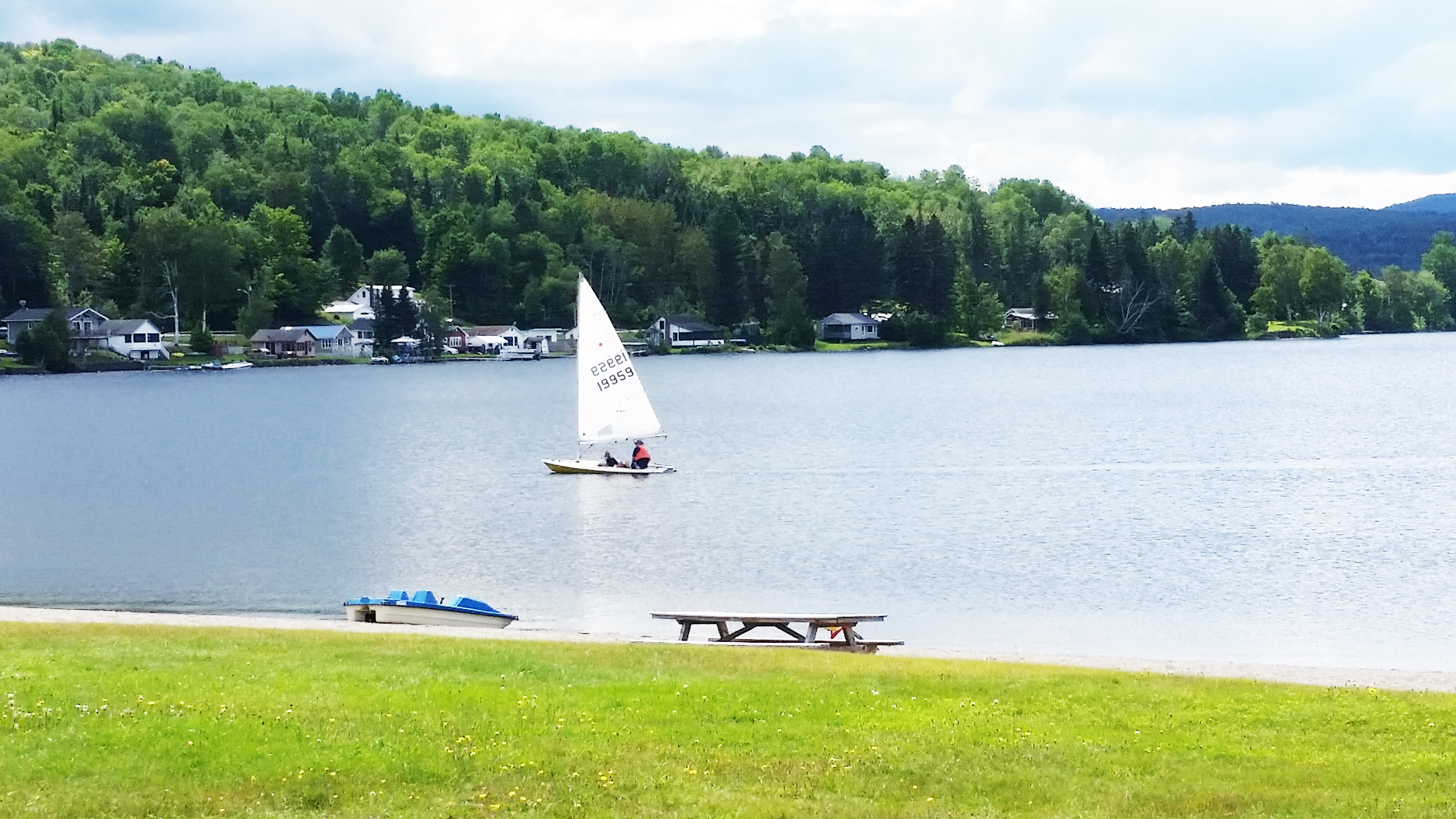 Sailing on International Lake Wallace northern Vermont